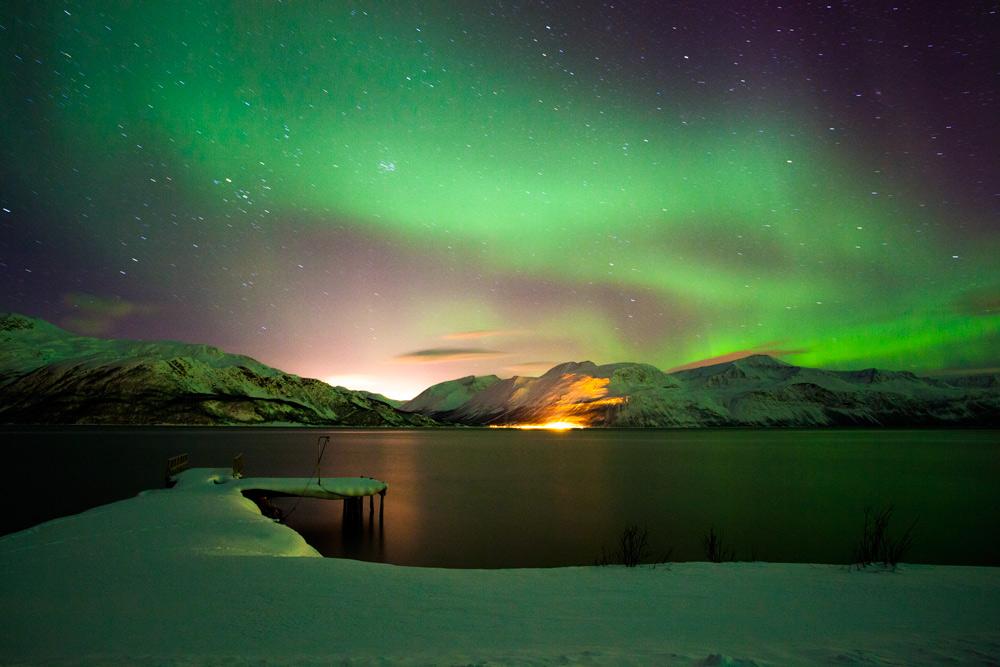 Nordlichter Norwegen Tromsö - Urlaub in Norwegen mit Nordlichtgarantie Lyngseidet Hundeschlitten und Skifahren Langlauf Lyngen Alpen