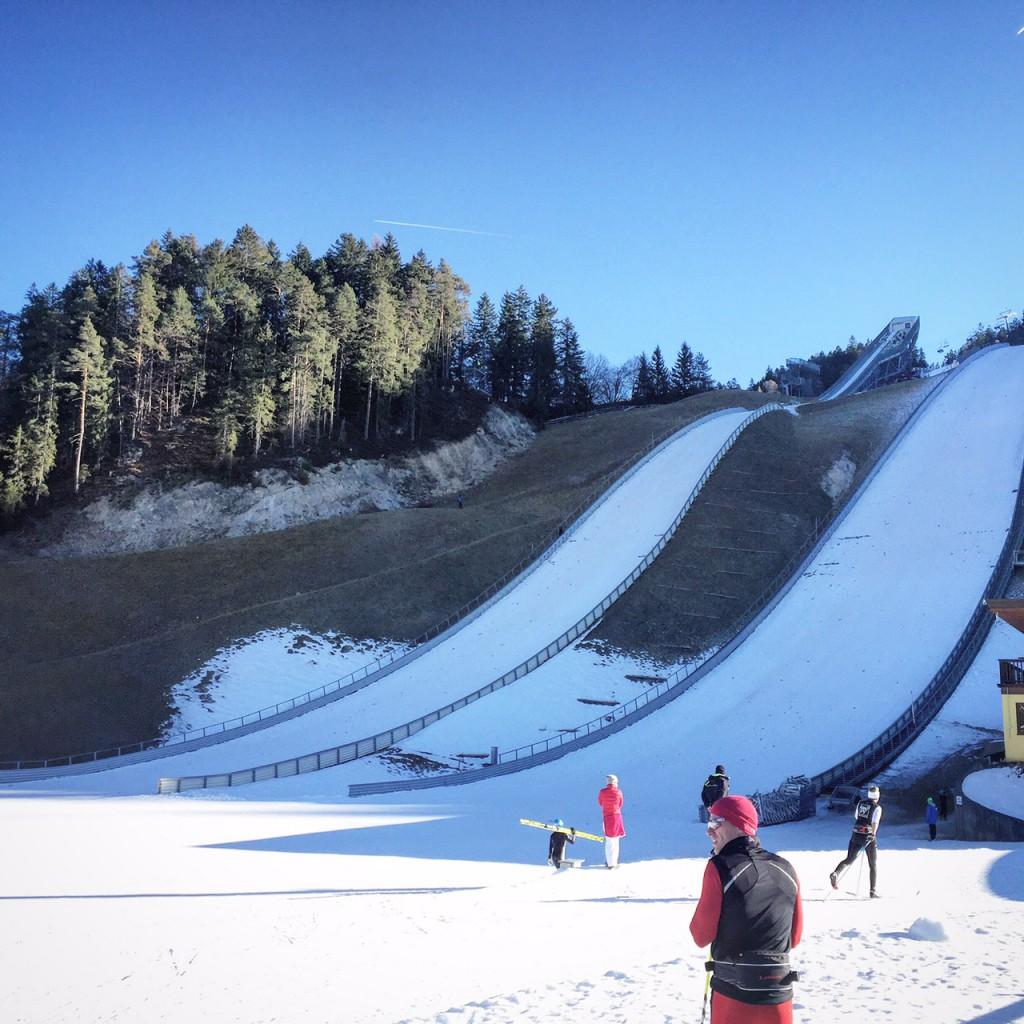 Skisprung Schanze Seefeld in Tirol im Winter in Österreich