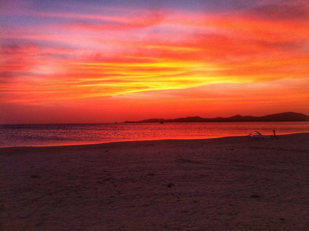 Sonnenuntergang Kakteen Wüste in Kolumbien Halbinsel Guajira