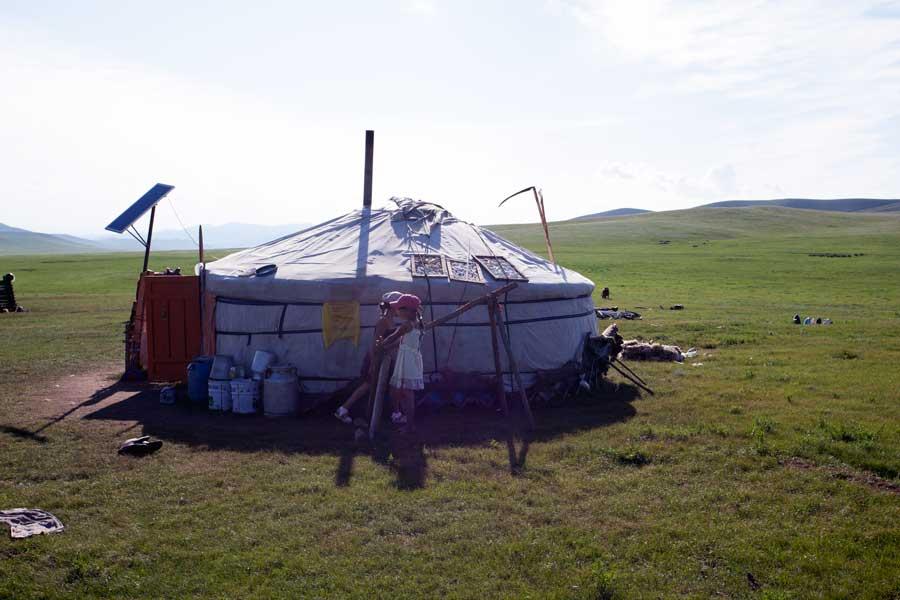 Mongolische Jurte Familie Mongolei, gorkhi-terelj national park