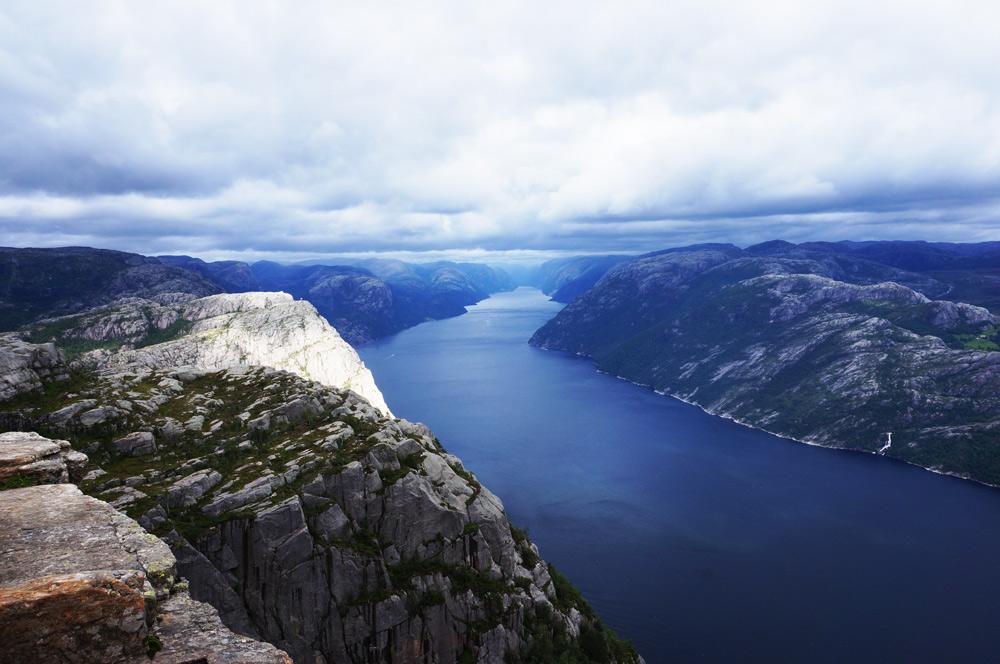 Wanderung Preikestolen Norwegen Ausblick Lysefjord