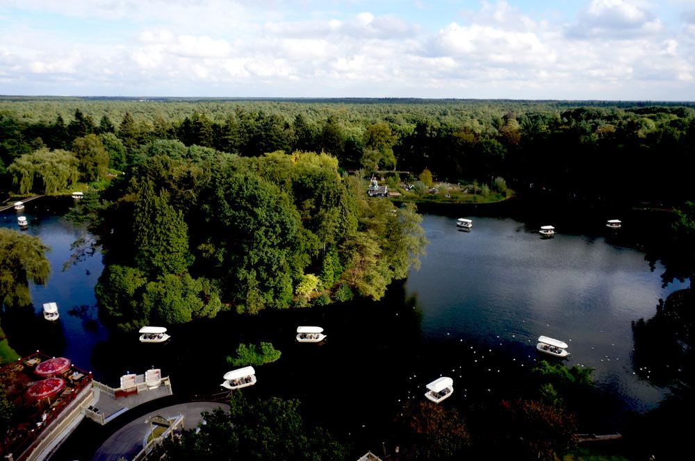 Efteling Freizeitpark, Efteling mit Übernachtung, Efteling von oben, Pogode Rundumsicht