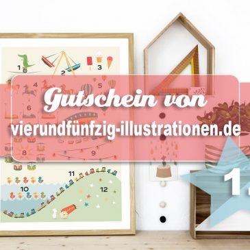 Beendet:  Adventstürchen 1 – Gutschein für den Onlineshop Vierundfuenfzig-Illustrationen