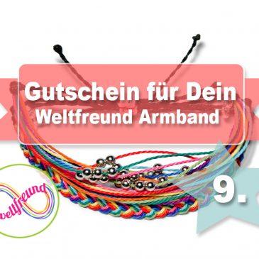 Beendet – Adventstürchen 9 – Gutschein für ein Weltfreund Armband in Höhe von 25€