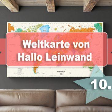 Beendet – Adventstürchen 10 – Weltkarte von Hallo Leinwand