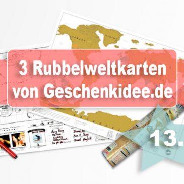 Beendet – Adventstürchen 13 – Drei Rubbel-Weltkarten von Geschenkidee.de