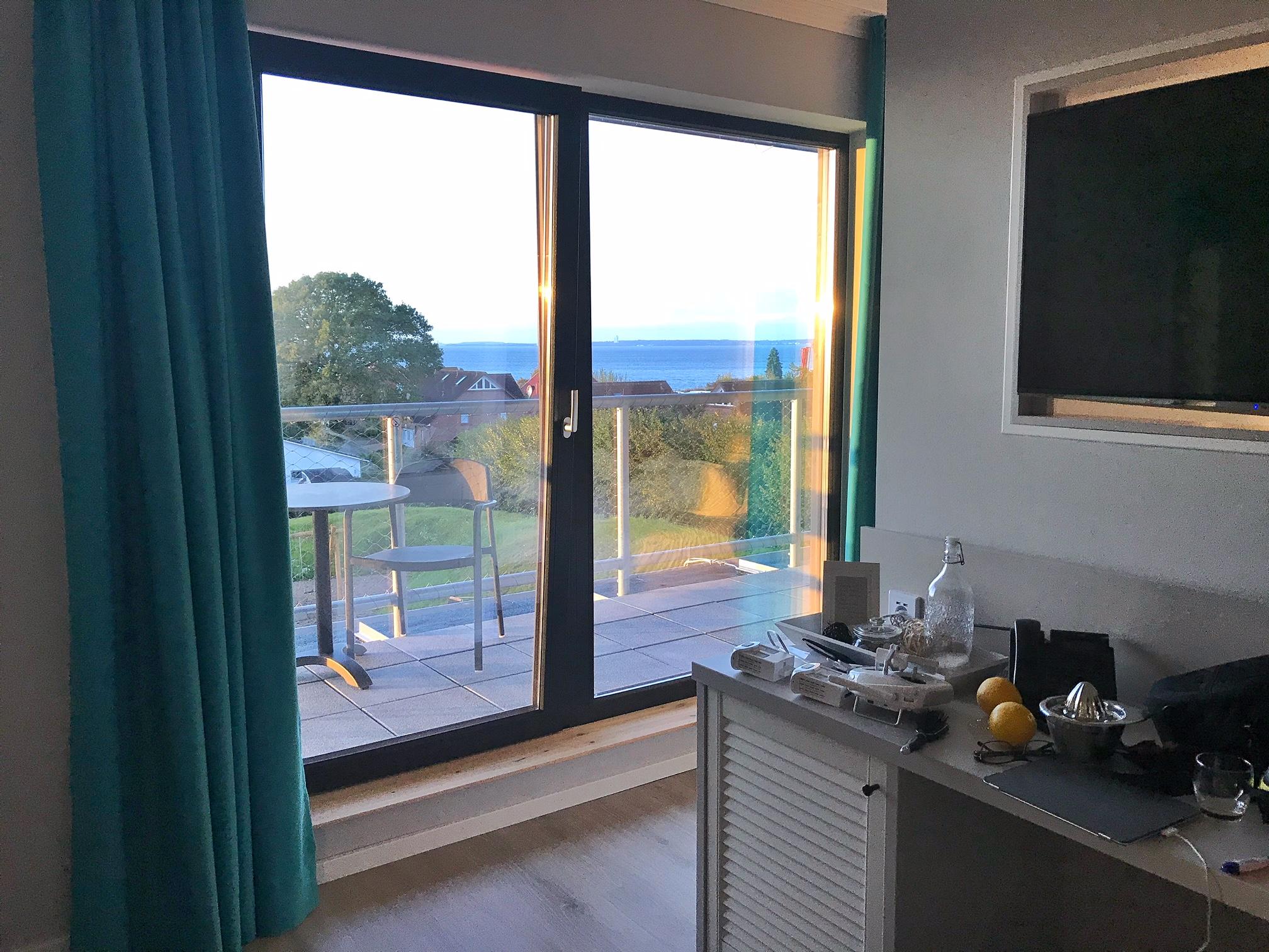 Blick aufs Meer aus dem Zimmer im Hotel Strandkind