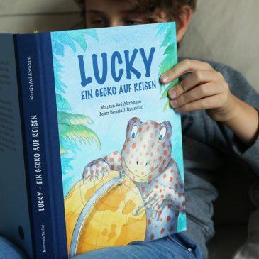 """BEENDET: Adventstürchen 16 – Kinderbuch """"Lucky – Ein Gecko auf Reisen"""" gewinnen"""