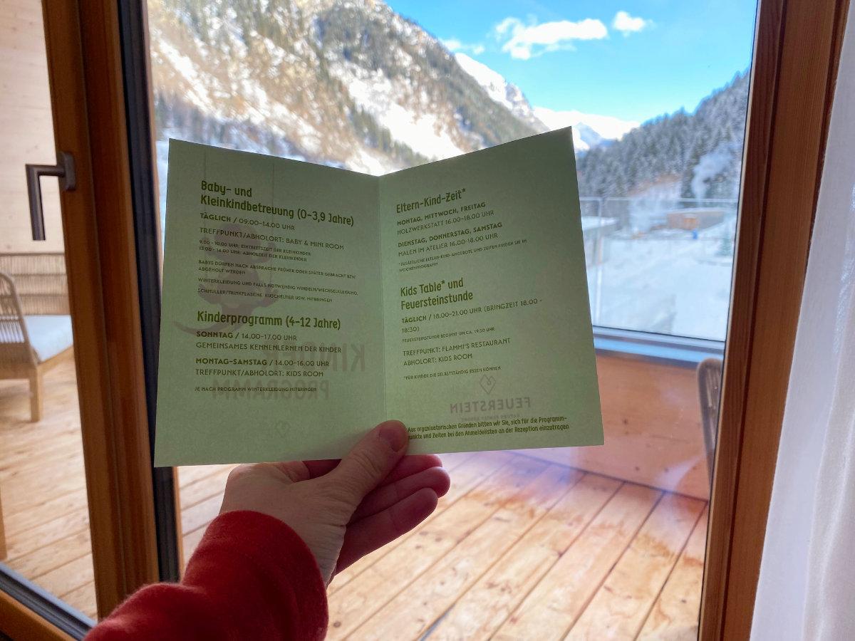 Programm im Feuerstein Nature Family Resort - Familienhotel Südtirol Familienzimmer Winterurlaub mit Baby