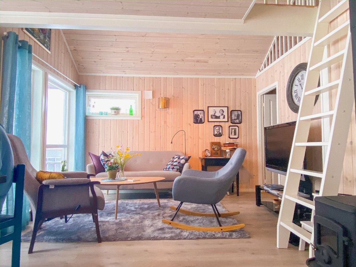 Wohnbereich in unserem Ferienhaus von Novasol auf den Lofoten