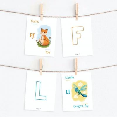 ABC Lernkarten Wald Deutsch Englisch